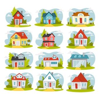 Набор красных домов. городские коттеджные постройки.