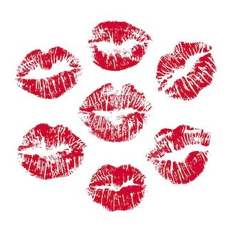 Набор красных отпечатков губ отпечаток красных губ