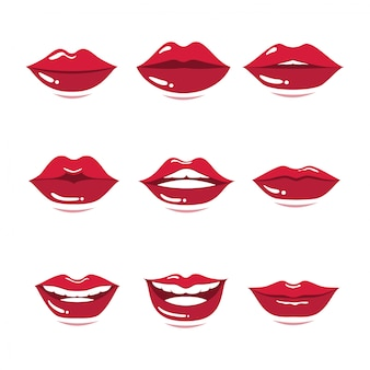 Set of red lips gesture