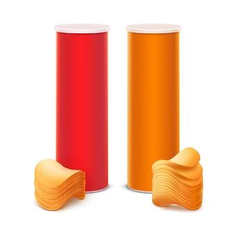 スタックポテトチップスと赤オレンジボックスのセット