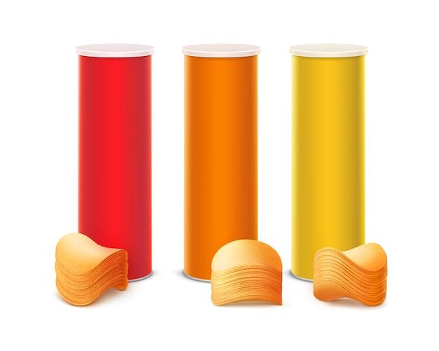 スタックチップと赤オレンジイエローボックスのセット
