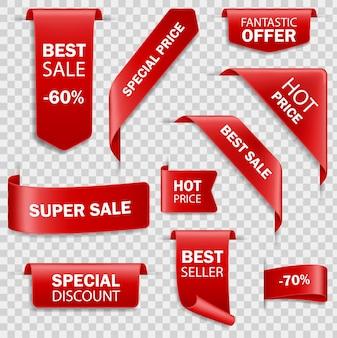 빨간 종이 판매 배너의 집합입니다. 가격표 수집. 코너 북마크, 태그, 플래그 및 빨간색 실크의 곡선 리본 아이콘을 지금 주문하십시오.