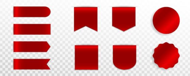 빨간 프리미엄 라벨, 배지 또는 태그의 집합