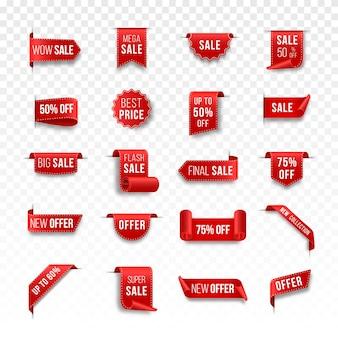 赤い値札のセットブラックフライデーのタグデザイン現実的な販売ラベル