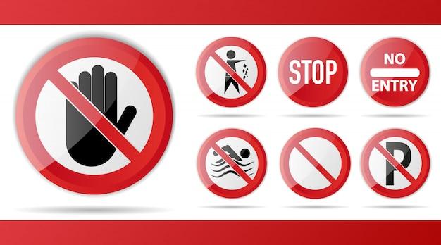 警告と注意のための赤い禁止道路標識のセット。