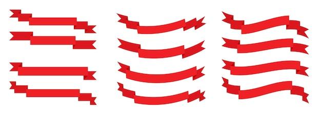 赤いリボンフラットのセットです。レトロなフラグ、テキスト、値札、販売ラベルの空白のテープ。空の異なる形状のシンプルなリボンテンプレート。漫画の装飾的な紙のバナー。白図に分離
