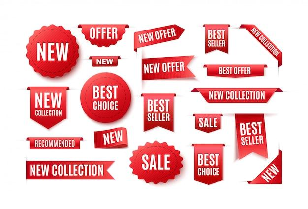비문 최고의 선택, 새로운 제안으로 빨간 리본, 배지 및 배너 세트. 판매 및 가격의 그림입니다.