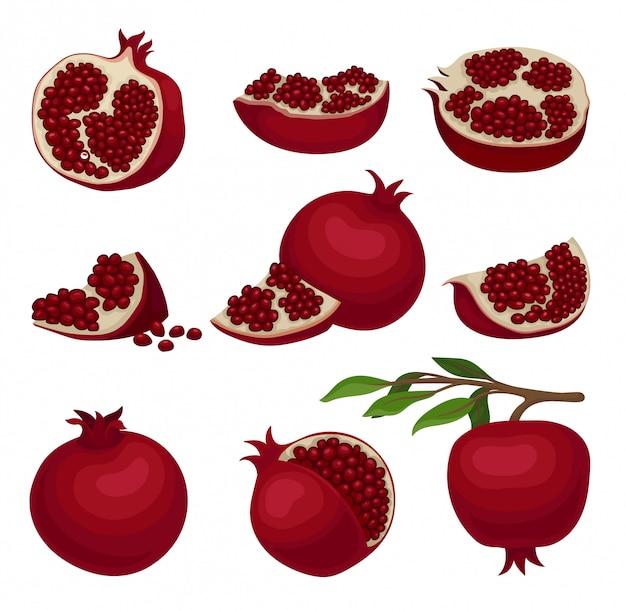 붉은 익은 석류의 집합입니다. 건강에 좋은 음식. 수분이 많은 씨앗으로 가득한 맛있는 과일. 유기농 제품