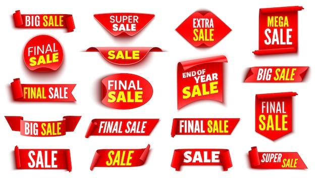 Набор красных знамен продажи. ленты и наклейки.