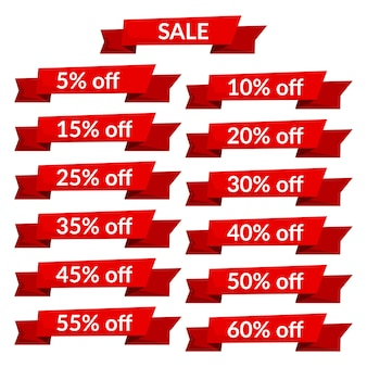 Набор красных лент продажи с различными значениями скидки. шаблон этикетки продажи. векторная иллюстрация