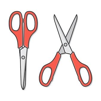 Набор красных ножниц в открытом и закрытом положении.