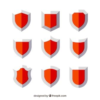 Набор красных щитов в плоской конструкции