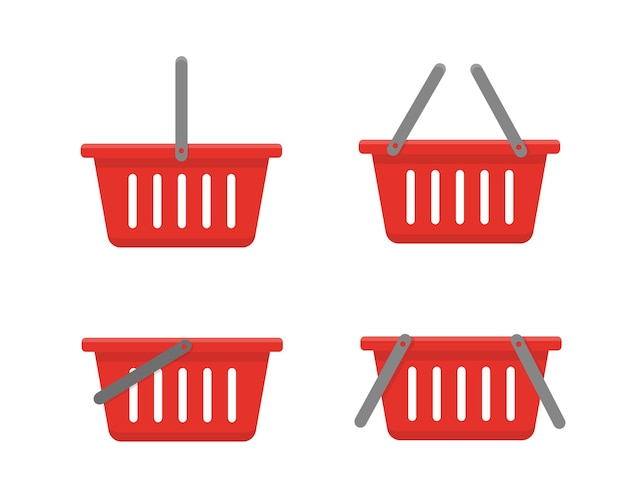 Набор красных корзин, изолированных на белом фоне.