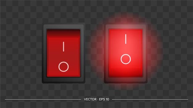 빨간색 사각형 켜기 및 끄기 버튼의 집합입니다. 외딴. 벡터.