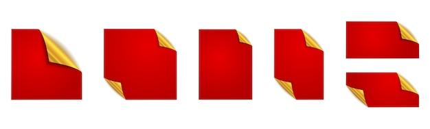赤いステッカーのセットです。赤い正方形のステッカー。モックアップ。