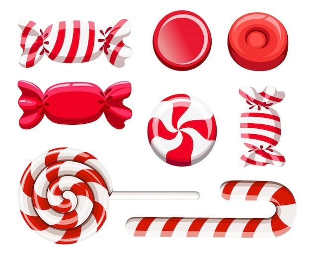 赤い砂糖菓子のセットです。ハードキャンディー、キャンディーケーン、ロリポップ。ラッパーのキャンディー。白い背景のイラスト。 webサイトページとモバイルアプリ