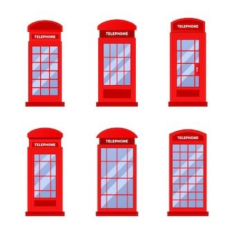 赤いヴィンテージ電話ブースのロゴデザインテンプレートのセット