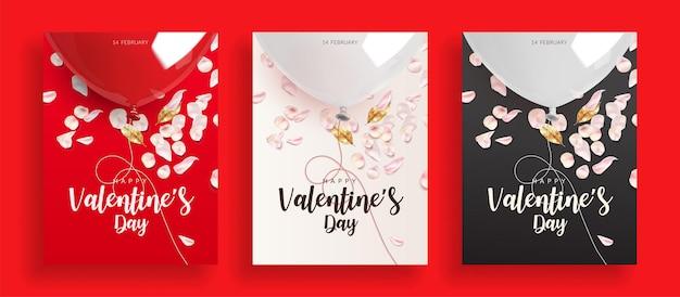 赤、白、黒のバレンタインデーの背景のセットです。