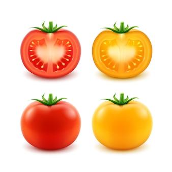 빨간색 노란색 녹색 신선한 잘라 전체 토마토 세트