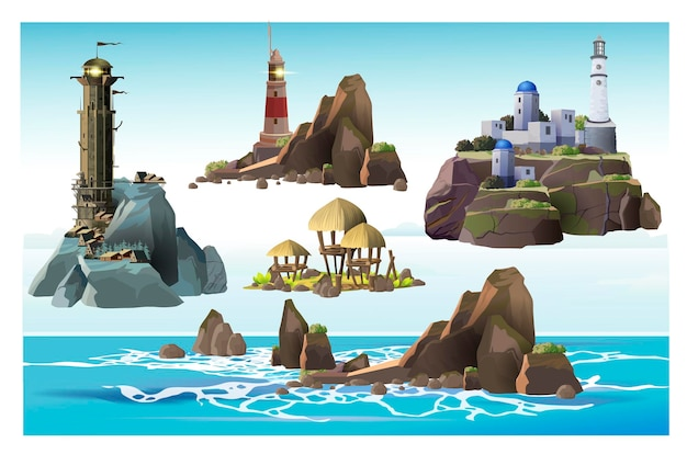 さまざまな島のサンゴ礁、熱帯の島、灯台の塔のセット。シンプルでギリシャ風の壮大なスタイリッシュな灯台。白い背景の上の灯台と岩の島。