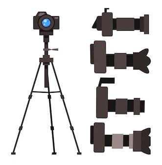 取り外し可能なレンズが付いている一眼レフカメラのセット