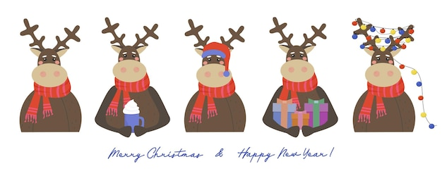Набор оленей с рождественскими подарками гирляндой из разноцветных огней и шляпой санты