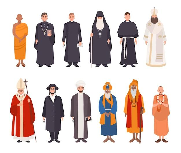 宗教の人々のセット。さまざまなキャラクターのコレクション仏教の僧侶、キリスト教の僧侶、族長、ラビのユダヤ教徒、イスラム教徒のムッラー、シーク教徒、ヒンドゥー教の指導者、クリシュナイト。カラフルなベクトルイラスト。