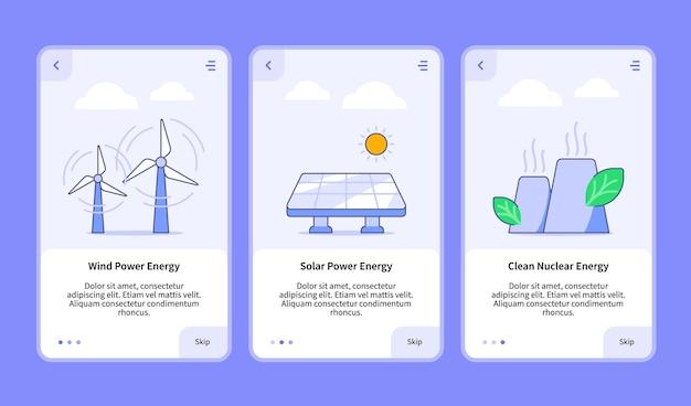 モバイルアプリの再生可能エネルギーのイラストのセット