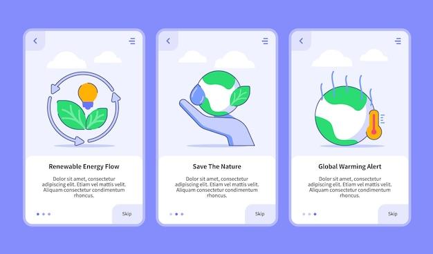 Набор иллюстраций по возобновляемым источникам энергии для мобильного приложения