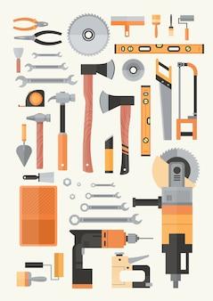 修理と建設作業用ハンドツールのセット