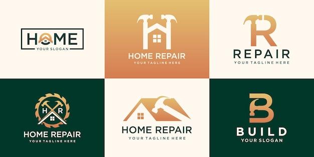 修理家のロゴ、創造的な家のロゴのコレクションを組み合わせたハンマー要素、抽象的な建物のセット。