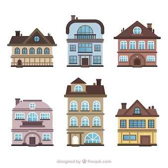 Set of residential houses in different models