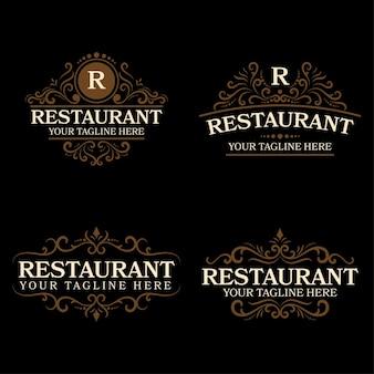 빈티지 스타일의 레스토랑 로고 디자인 세트