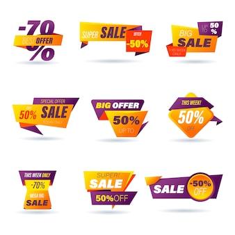 소매 판매 배지 세트 소셜 미디어 광고 및 배너, 웹 사이트 배지, 마케팅, 레이블 및 제품 홍보 템플릿 스티커 온라인 쇼핑 종이 접기 스타일 스티커. 삽화.