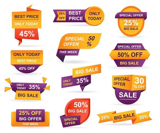Набор тегов розничной продажи. наклейки лучшее предложение цена и большая распродажа
