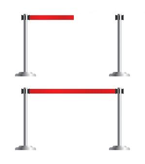 Комплект выдвижных ремней, набор стоек. ограждение аэропорта, изолированные на белом фоне. переносной ленточный барьер. красная полосатая лента.