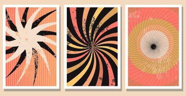 Набор ретро абстрактных вихревых форм плакатов современный минималистский вектор коллекции настенного искусства