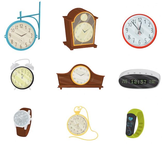 Набор ретро и современных цифровых часов, классических наручных часов, карманных часов и фитнес-браслета. предметы домашнего декора