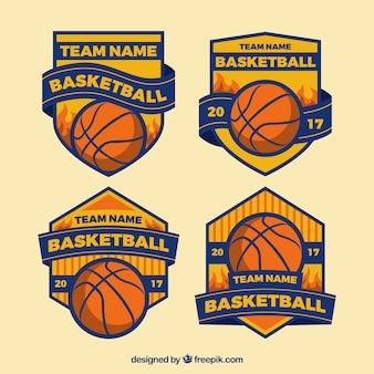 レトロバスケットボールチームバッジのセット
