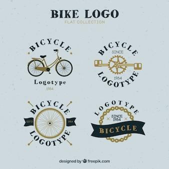 Набор ретро-велосипедных логотипов Бесплатные векторы