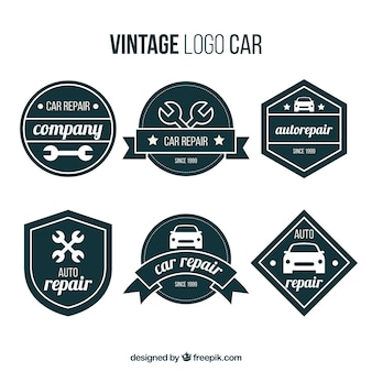 Set of retro car logos with geometric forms
