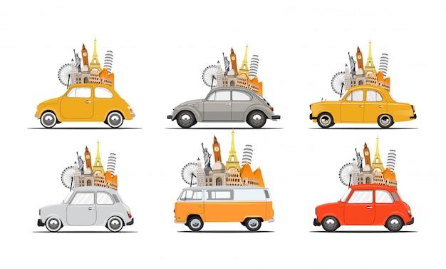 여행, 레저, 임대, 가족, 도로 여행을위한 레트로 자동차 세트. 자동차, 관광, 여름 휴가 여행 시간