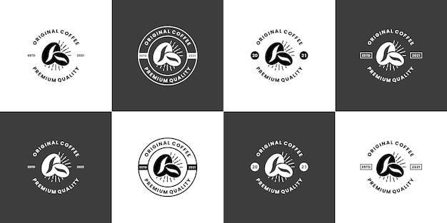レトロなコーヒーショップ、カフェのロゴデザインバッジヴィンテージのセット