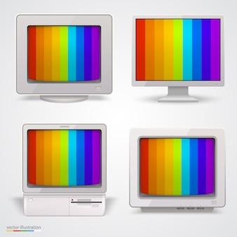 Набор ретро-компьютеров искусства. векторная иллюстрация