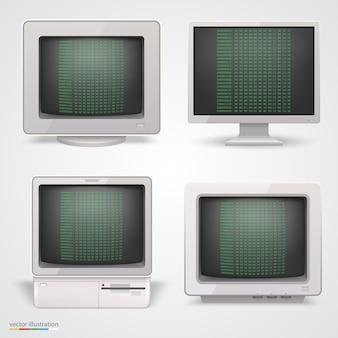 Набор ретро компьютеров. векторная иллюстрация 10eps