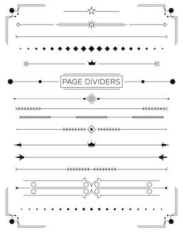 레트로 장식 페이지 구분선 및 디자인 요소 집합입니다. 벡터 일러스트 레이 션. 고전 도서 컬렉션.