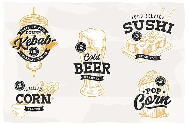 Набор ретро-эмблем с самой популярной уличной едой и напитками. векторные шаблоны логотипов.