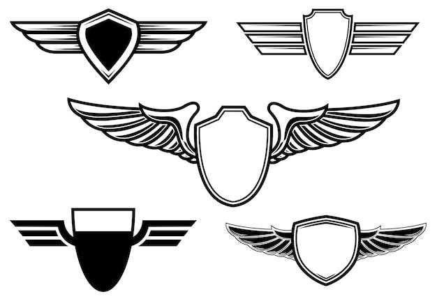Набор ретро эмблем с крыльями