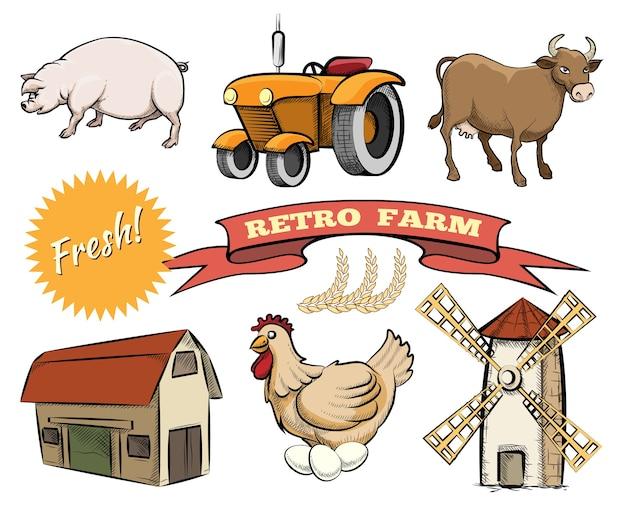 Набор цветных векторных иконок ретро-фермы, изображающие свиней, трактор, коровник, курятник, ветряную мельницу или мельницу, свежий логотип и ленточный баннер с текстом