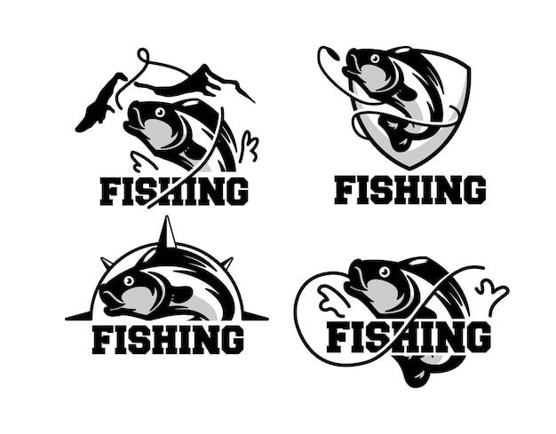 レトロな釣りのロゴバッジのセット